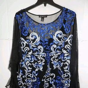 NWT INC Women Floral Embroidered mesh top